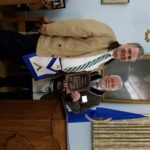 Masonic Home Ambassador Brother Ray Mauk presents Worshipful David King with Freedom's Morklock Award.